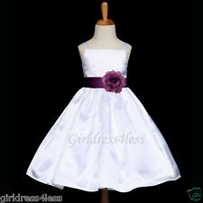 WHITE/PLUM DARK PURPLE SASH JR. BRIDESMAID FLOWER GIRL DRESS 12M 2 4 6 8 9/10 12