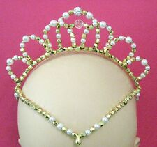 *Ready to post* WHITE GLASS PEARL & GOLD BEADED Olivia TIARA Ballet Headpiece