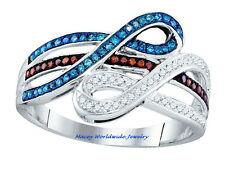 10K GOLD BRANDY CHOCOLATE BROWN, MEDITERRANEAN BLUE & WHITE DIAMOND STYLISH RING