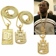 MENS ICED OUT HIP HOP DREAM CHASERS 'MMG' MUSIC PENDANT BOX CHAIN SET NECKLACE