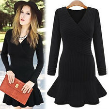 Sexy Women Knit Bodycon Long Sleeve Evening Cocktail Club Sweater Mini Dress