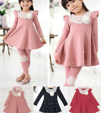 Kids Girls Baby Toddler Christmas Lace Pearls Long Sleeve Dress TuTu Party Dress
