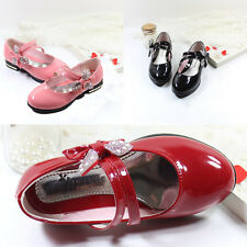 Lovely Girls Toddler Bow Princess Dress Shoes Slip On Casual Velcro Lace Party