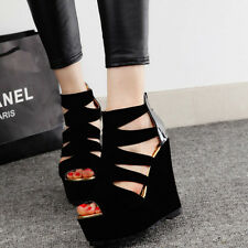 Fad ! Women Summer Sexy Hollow Out Wedge High Heel Platform Pump Shoes Sandals