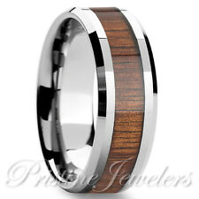 Silver Tungsten Carbide Wood Inlay Wedding Band Men's Jewelry Comfort Fit Ring