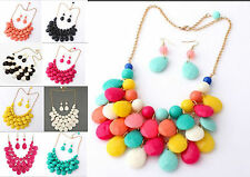 wholesale A Set Fashion Jewelry Multilayer drip Bib Necklace earring 8color