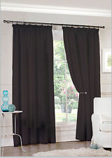 """Pair of Ready Made Black Lined Voile Pencil Pleat 3"""" Tape Top Curtains"""
