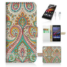 Sony Xperia Z5 Flip Wallet Case Cover! P0023 India Damask