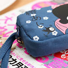 Vogue Cute Japanese Girl Print Canvas PhoneBag Double Zipper Purse Coin Bag C3