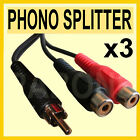 Qty 3- 1 to 2 RCA Phono Adaptor Lead Wire 'Y' Splitter DAZZLE 15cm Fast Post W06
