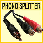 Qty 5 - 1 to 2 RCA PHONO ADAPTOR LEAD Joiner Y SPLITTER 15cm Dazzle - W06