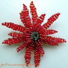 1930's Piece All Hand Made Retro Vintage FLOWER Brooch in Beads Wires PIN Clip