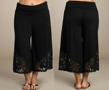 CAPRI GAUCHO PANTS PLUS SIZE HIGH WAIST BLACK CULOTTES Lace Wide Leg 1X 2X 3X