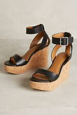 NEW Anthropologie Lien.Do Dulce Wedges by Sechelles Size 8 Black Leather Heels