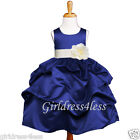 NAVY/IVORY WEDDING PAGEANT WEDDING PICK UP FLOWER GIRL DRESS6M-18M 2 4 6 8 10 12