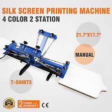 2 Station 4 Color Silk Screen Printing Press Screening Pressing Kit Printer