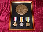 Frame for WW1 Medals 1914 or 15 Star BWM & Victory Medals & Memorial Plaque