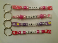 Personalised  Girls Name Tag Keyrings for School Bags, Lunch Boxes etc.