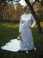 Vtg Genuine 60s Satin Guipure Lace White Bridal Regal Gown Train 10/12 Stunning!