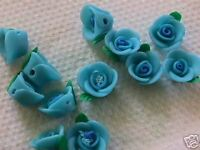 Blue & Green Fimo Poly Clay 12mm x 10mm Flower Beads