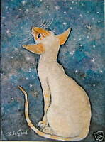 ACEO SIAMESE CAT ASTRONOMER PAINTING PRINT FROM ORIGINAL BY SUZANNE LE GOOD