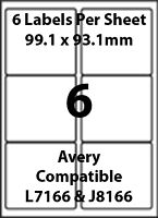 Avery L7166 Compatible Inkjet/Laser - 6 Blank Address Labels - 5 Sheets