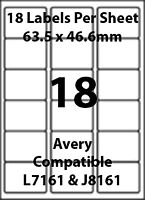 Avery L7161 Compatible Inkjet/Laser - 18 Blank Address Labels - 5 Sheets