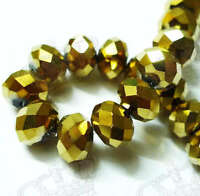 72 8mm Shiny Golden Faceted Rondelle Crystal Glass Bead