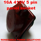 16 AMP 415V 5 PIN PANEL SOCKET RED 3 PHASE HT-315 16A