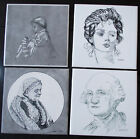 SET OF 4 FOLK ART Hand Painted Ceramic Tiles - George Washington