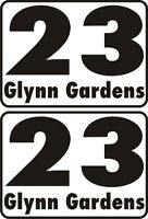 2 x Wheelie bin number with street name vinyl stickers any colour size small