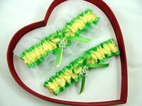 *New Sexy Apple Green Canary Yellow White Garters Prom*