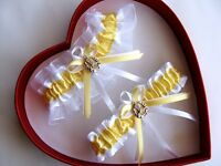 *FREE SH New Canary Yellow White Garter 30 Charm Select