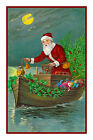 Victorian Christmas Boating Santa Claus  #40 Counted Cross Stitch Chart
