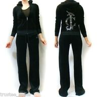 NWT Juicy Couture JC Logo Embellished Patch Velour Black Hoodie Pant Tracksuit