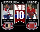 GUY LAFLEUR HONOURING A LEGENDS PHOTO W/ GAME USED STICK & MONTREAL FORUM SEAT