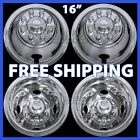 "Chevy GMC 16"" Dual Steel Wheel Simulators Dually 8 Lug Rim Skins Liners Covers"
