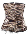 Sexy Holiday Black & Gold Sequin Tiger Underbust Corset w G-string Set S M L XL