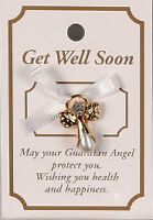 IMITATION PEARL GUARDIAN ANGEL GET WELL SOON Pin Lapel Brooch WHITE PINK BLUE
