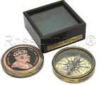 King Edward Collectible Brass Compass With Glass top Hard wood Box
