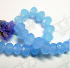 72pcs 8mm Opaque Light Blue Faceted Crystal Glass Rondelle Beads