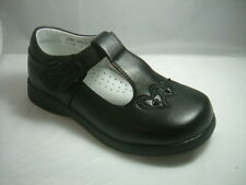 GIRLS BLACK SCHOOL SHOES,VELCRO T BAR PARTY FAUX LEATHER FORMAL SMART FORMAL