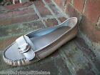 ST JOHNS BAY FROSTY METALLIC GOLD LEATHER RUBBER SOLE MOCCASIN COMFORT LOAFER 6