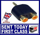 3.5mm Stereo Jack Male plug to 2 RCA twin Phono Female Sockets Black, Gold cons