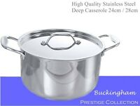 Heavy Duty Stainless Steel Deep Casserole Stock pot Sauce pan Aluminium Base