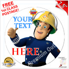 "FIREMAN SAM PERSONALISED Edible Icing Cake Topper 7.5"" Round Pre-cut"