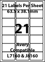 Avery L7160 Compatible Inkjet/Laser - 21 Blank Address Labels - 5 Sheets