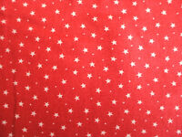 RED WITH WHITE STARS 100% COTTON FABRIC PER 1 METRE 3MM STAR