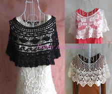 Vintage Crochet Lace Wide Collar Tank Top Vest Sewing Appliqué