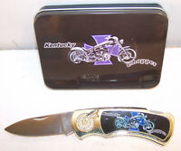 new FOLDING KENTUCKY CHOPPER  KNIFE stainless steel KN359 collectable tin box